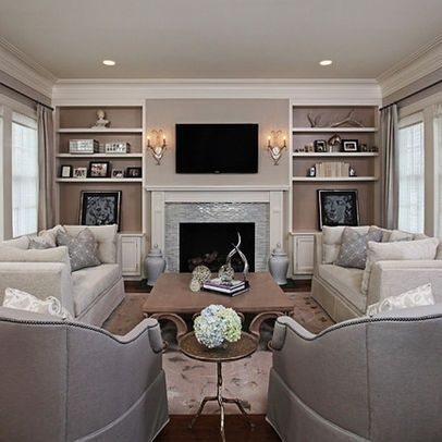 Love this ... wall becomes the feature of the living room
