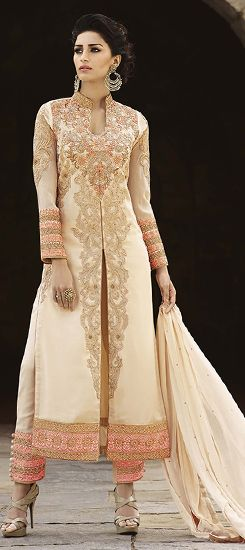 450818: Beige and Brown color family semi-stiched Party Wear Salwar Kameez .