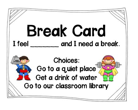 Sensory break cards - people/childrensuffering from Autism or SPD require regularly Sensory Break, especially in school - here is a simple & easy card to communicate needs, before a meltdown occurs