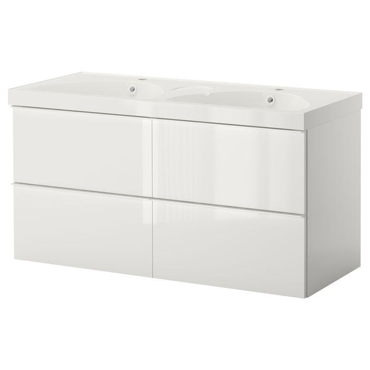 GODMORGON/EDEBOVIKEN Servantskap med 4 skuffer - høyglans hvit - IKEA 120 cm servantskap (122 m vask?)