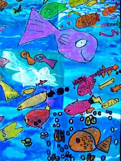 candice ashment art: Swarm of Ocean Fish- Make a tissue paper & paint mural {tutorial}