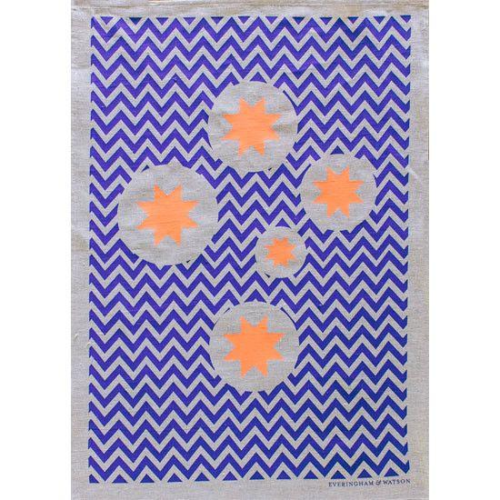 Southern Skies Linen Tea Towel | Love the orange neon stars
