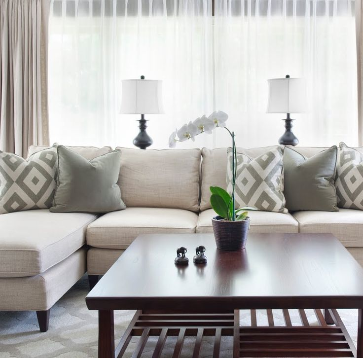 Balanced Beige Living Room With Gray Pillows
