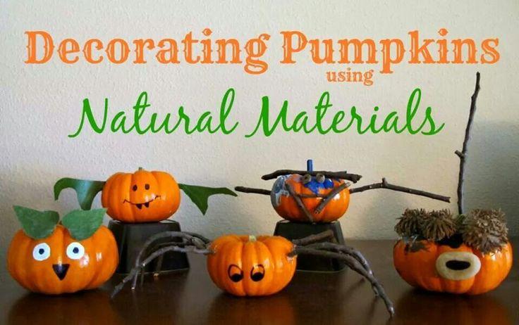 Decorating pumpkins using  natural materials is always fun!