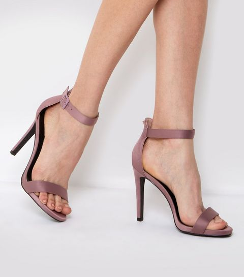 Pink Satin Buckle Side Heeled Sandals