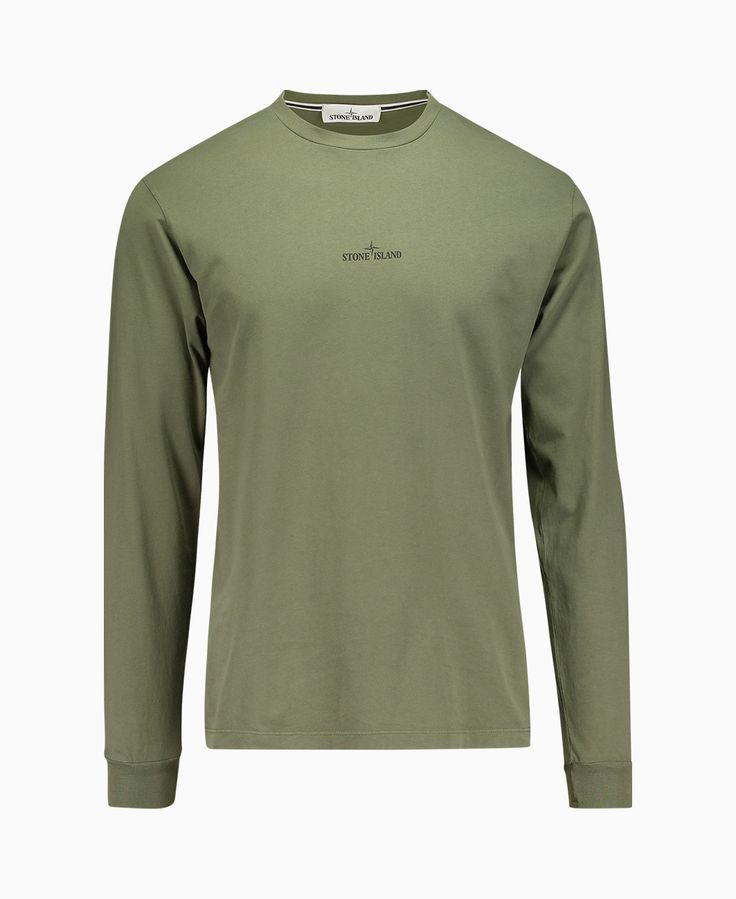 Stone Island - Double Pin Long Sleeve T-Shirt - Olive - Mens Sale - Sale