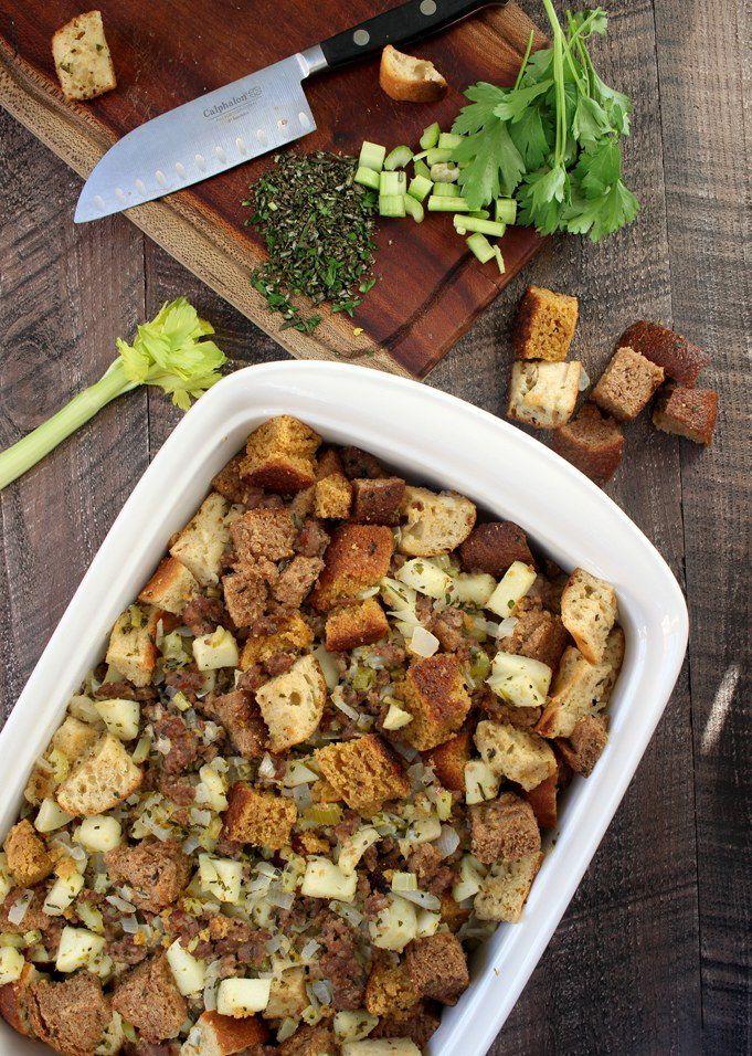 Whole-Food Apple Sausage Stuffing via @Simply Sissom
