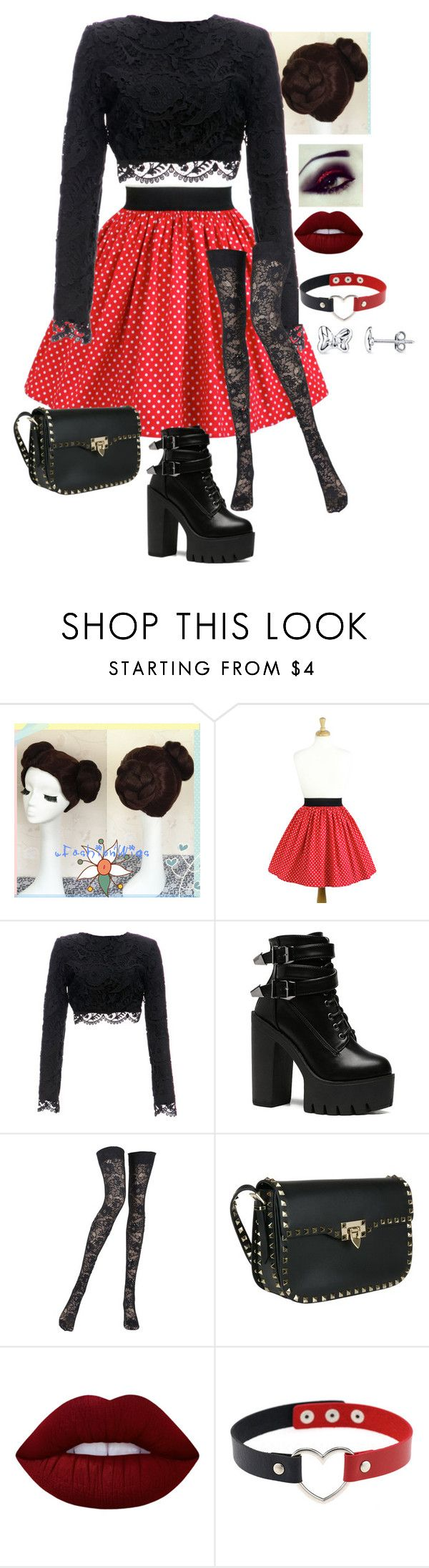 """""""Minnie Mouse"""" by ladyjane-irving on Polyvore featuring Stone_Cold_Fox, Preen, Pierre Mantoux, Valentino, Lime Crime and Belk Silverworks"""