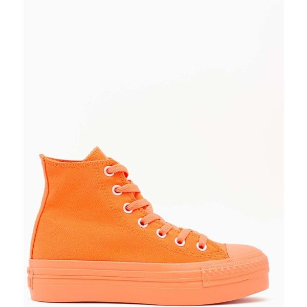 Converse All Star High-Top Sneaker - Orange ($65) ❤ liked on Polyvore featuring shoes, sneakers, high-top sneakers, orange sneakers, converse sneakers, converse trainers and platform high tops