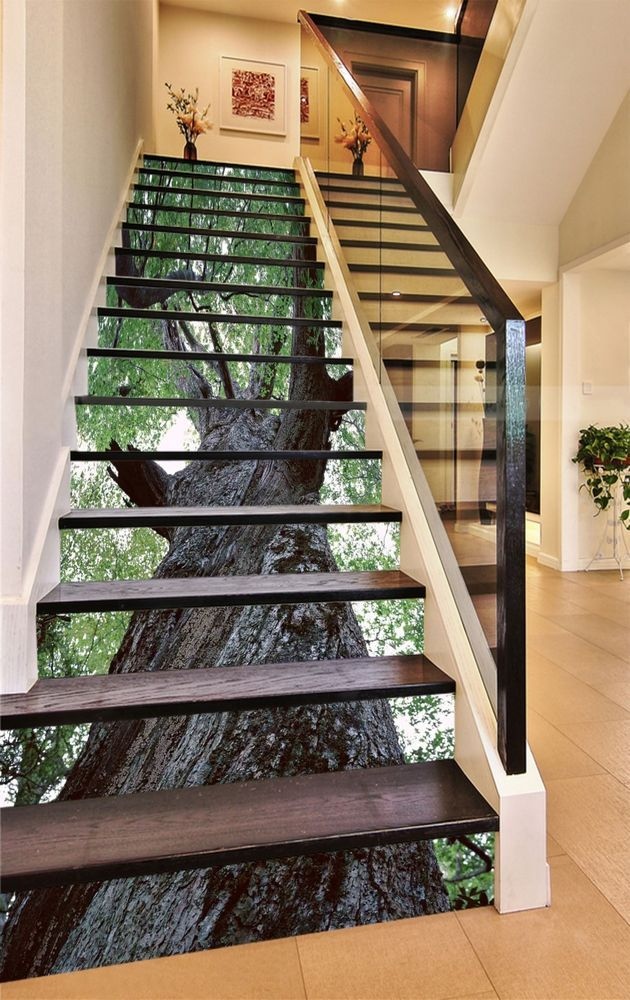 Details About 3d Green Trees Stair Risers Decoration Photo