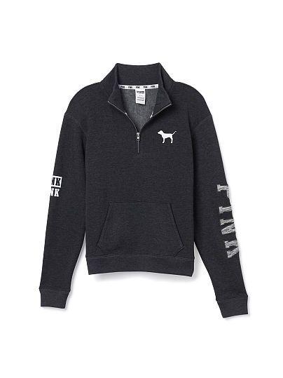 nike training pants Boyfriend Half Zip   PINK   Victoria  39 s Secret   dark grey   size xs