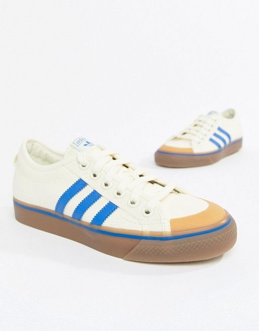 73d2d74e1f12 adidas Originals Nizza Canvas Sneakers In White And Blue