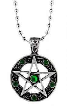 Pentagram Green Stones Pendant - Necklace