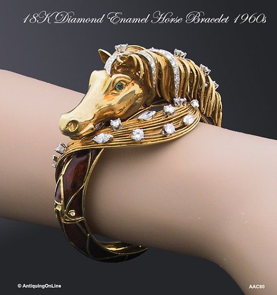18K Diamond Enamel Horse Bracelet Equestrian Jewelry Bracelet J.E. Caldwell Jewelry