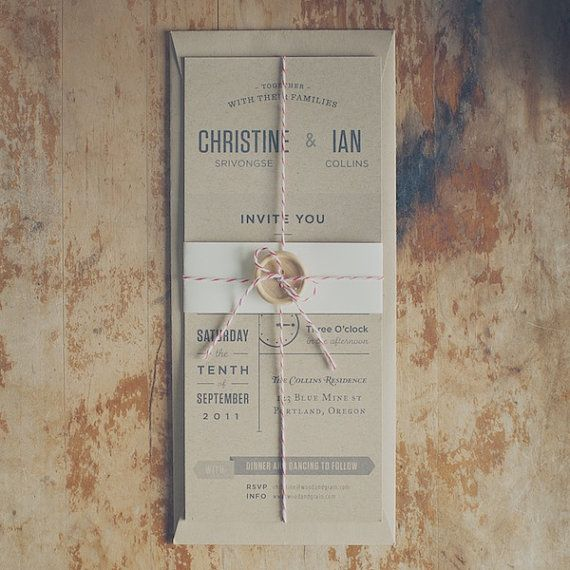 Rustic Kraft Wedding Invitation Suite: The Birch via Etsy. DIY: use Lunch Bag kraft cardstock and Lunch Bag Open End Policy envelopes from Kraft Outlet. Tie it together with Baker's Twine