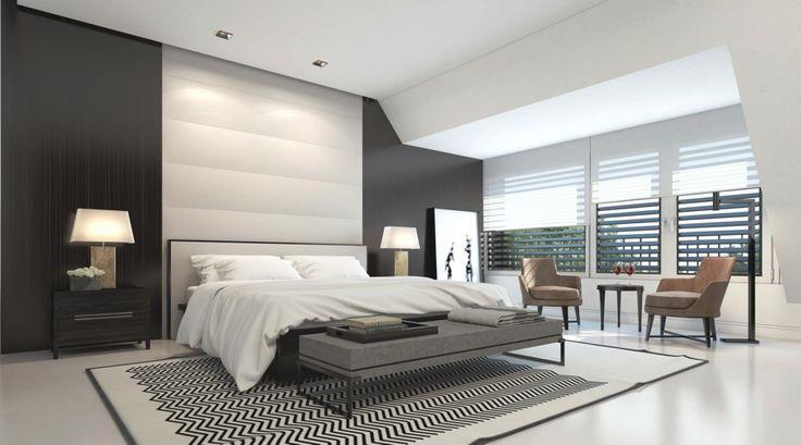 Une chambre à coucher simple, élégante et moderne. On aime particulièrement la carpette sous le lit!