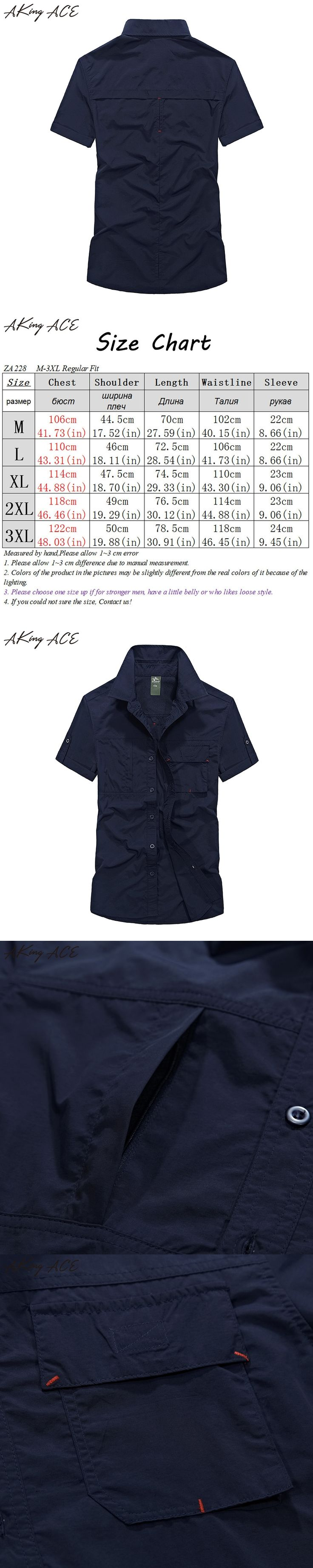 2017 AKing ACE NEW Arrivals Men's air force shirt short sleeve blouse shirt male hawaiian waterproof man cargo shirts ,ZA227