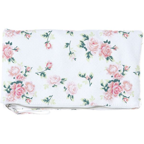 Canvas Floral Clutch Bag ($50) ❤ liked on Polyvore featuring bags, handbags, clutches, borse, accessories, torbe, women, flower print purse, flower print handbags and floral print handbags