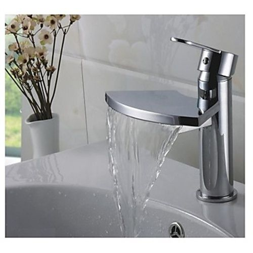 Single Handle Contemporary Waterfall Brass Chrome Bathroom Sink Faucets --  Faucetsmall.com