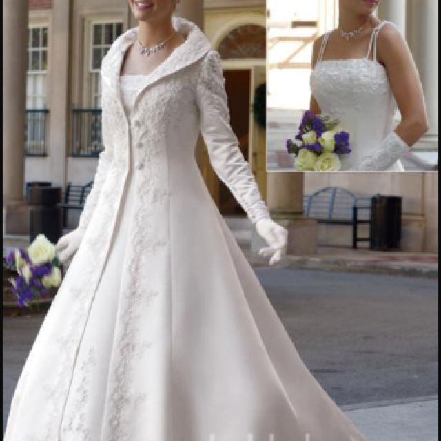 Winter wedding dress. I love the jacket not the dress underneath