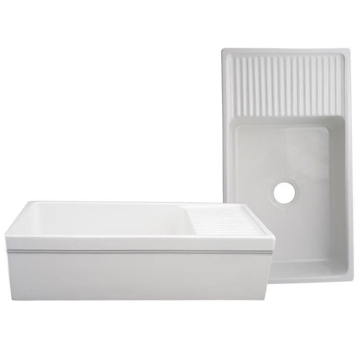 Whitehaus Quatro Alcove Farmhaus Reversible Fireclay Farmhouse Kitchen Sink with Drain Board - Fireclay Kitchen Sinks - Kitchen Sinks - Kitchen