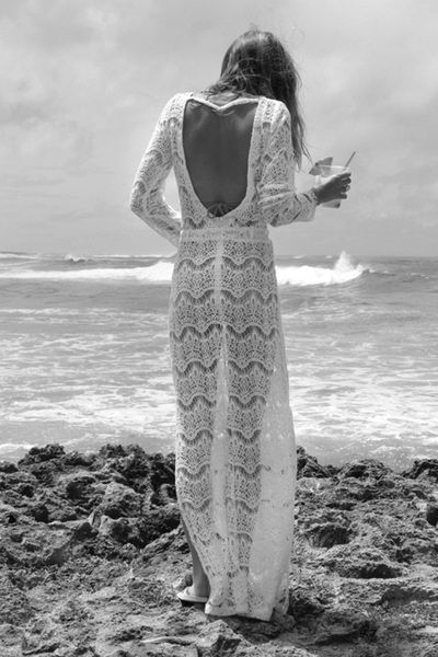 lace dress | stunning | ocean | rocks | crochet | beach | beautiful | fashion editorial | wow | backless | waves | natural beauty