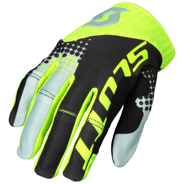 Scott 450 ANGLED / VENTILATED Gloves (BLU/YEL).