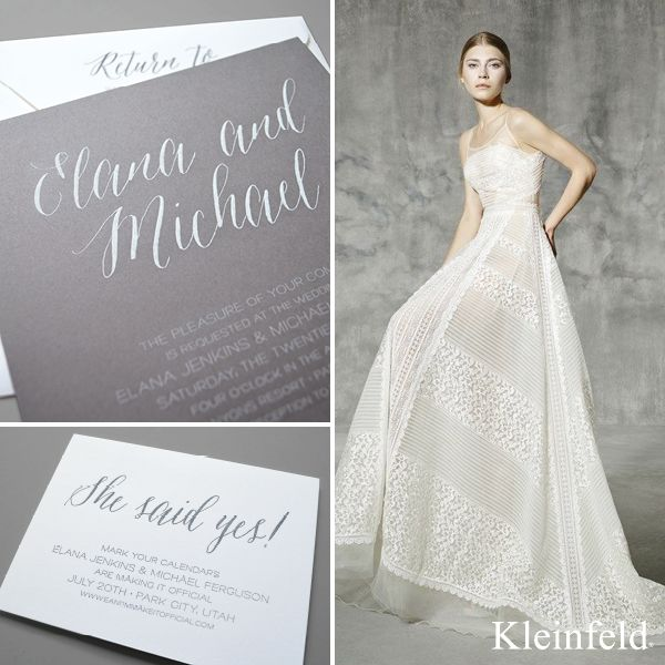 Perfect Pair || Yolan Cris gown from Kleinfeld Bridal paired with 'Sonoma,' a romantic wedding invitation design from Kleinfeld Paper || http://www.kleinfeldpaper.com/retailer_locator.cfm
