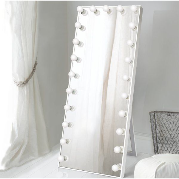 Laleia Lighted Full Length Mirror, White Floor Mirror With Lights