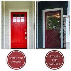 """Day 23 Question: I want to paint my front door a nice bright red. Do you have any recommendations? I love painting doors a fun color. Reds are classic and fun. Reds by nature have a lot of energy. Two reds that I like, both from @sherwinwilliams. Poinsettia (SW 6594) is one of my favorites. I've paired it pairs well with so many colors. Its one of my """"go to"""" reds for doors. Stolen Kiss (SW 7586) is another great red. It reminds me of that perfect #redlipstick."""