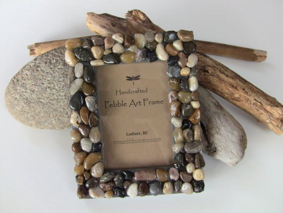 River Rock Picture Frame  Beach STONE Picture by PebbleCreationz, $25.99
