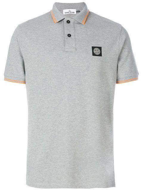 STONE ISLAND logo patch polo shirt. #stoneisland #cloth #shirt