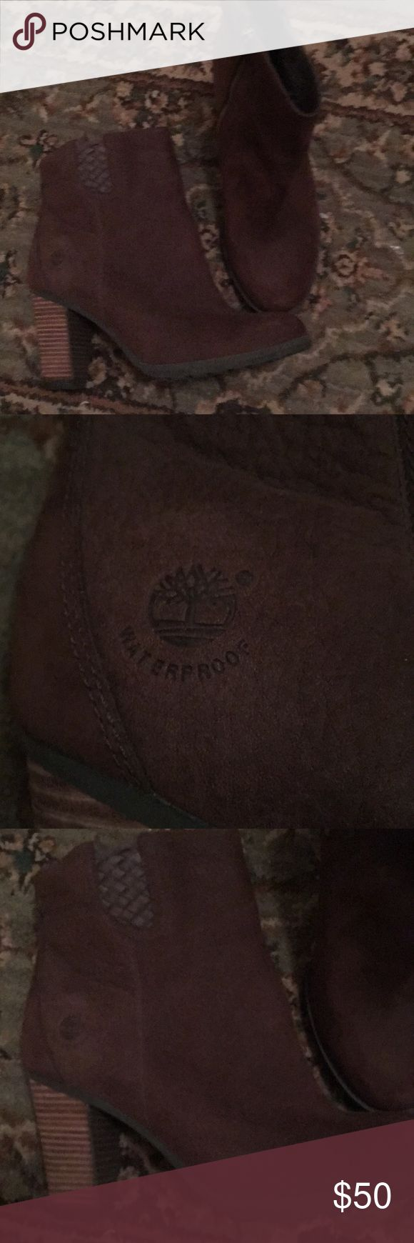 Timberland waterproof bootie Timberland waterproof bootie size 9 dark brown, never worn Timberland Shoes Winter & Rain Boots