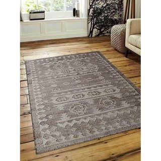 Traditional Oriental Hand Woven Kilim Jute Eco-friendly Carpet Indian Area Rug (5′ x 8′ – White/Beige)