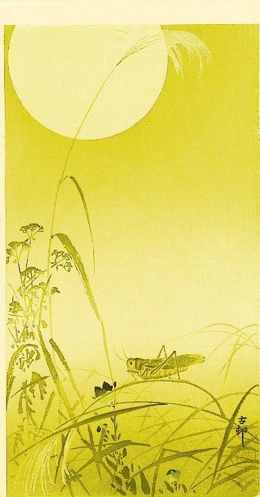 Ohara Koson, 'Grasshopper and a Fool Moon'