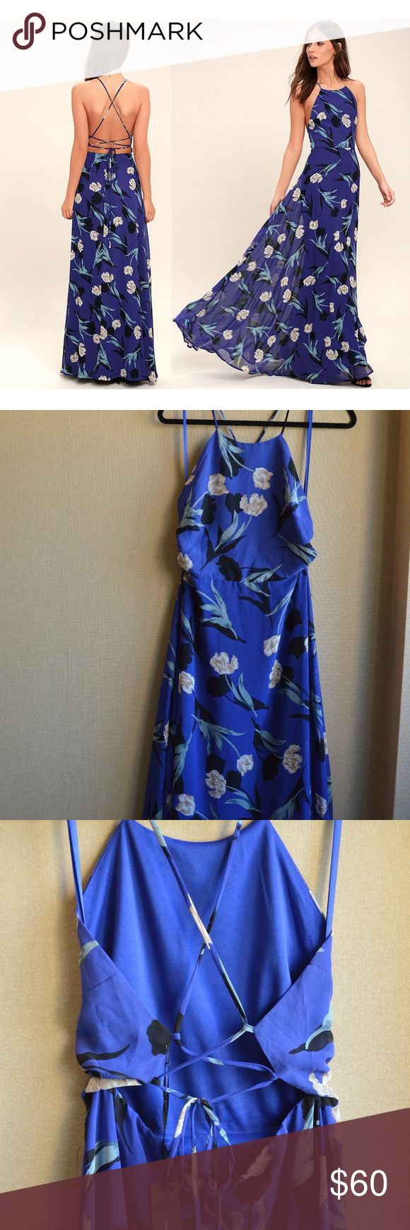 "NWT Lulus blue floral maxi dress Beautiful brand new Lulus ""All I Need"" maxi dress with criss-cross strap back. Blue and white floral pattern. Super flattering dress makes the perfect wedding guest dress— flowing full length skirt spins on the dance floor! Lulus Dresses Maxi"