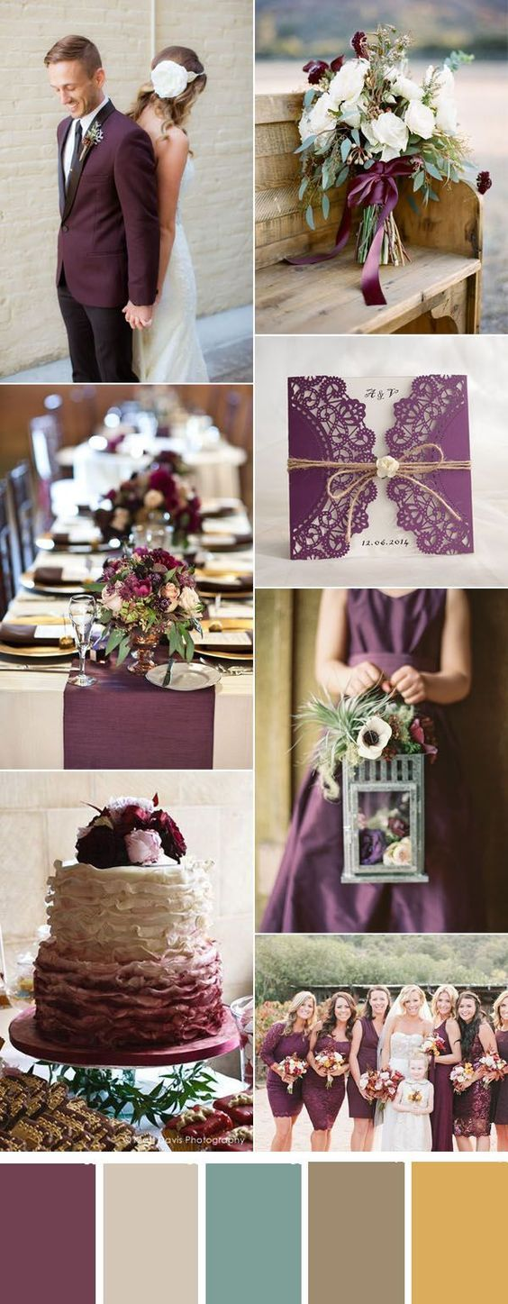rustic plum fall wedding inspiration and invitations: