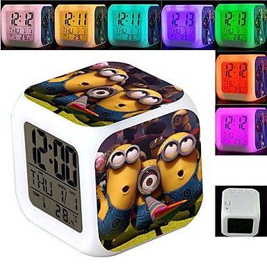 Dispicable Me Minions 7 Colour Change Clock Thermometer. Only at www.pandadeals.co.uk