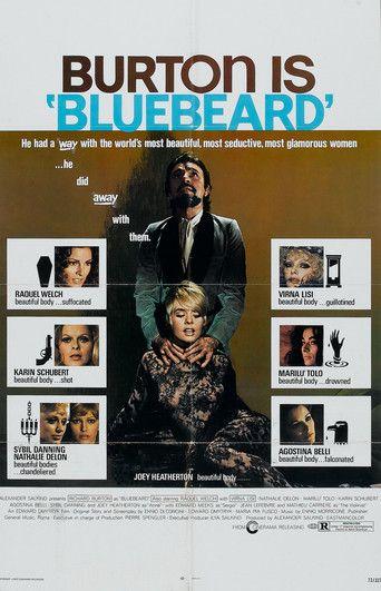 BLUEBEARD (1972) - Richard Burton - Raquel Welch - Joey Heatherton - Virna Lisi - Karin Schubert - Augustina Belli - Based on book by Charles Perrault - Directed by Edward Dmytryk - Cinerama Releasing Corp. - Movie Poster.