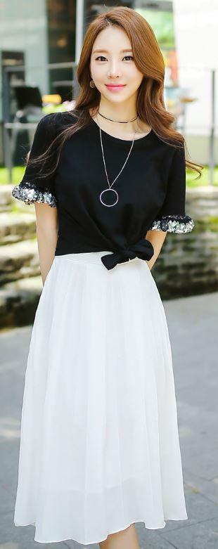 StyleOnme_Chiffon Pleated Long Skirt #pleats #skirt #white #long #spring #summer #koreanfashion