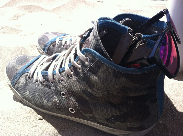 "Sneakers ""Leather Crown - Blue Camouflage"""