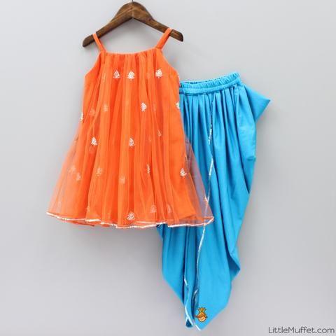 Pre Order: Orange And Blue Dhoti Set