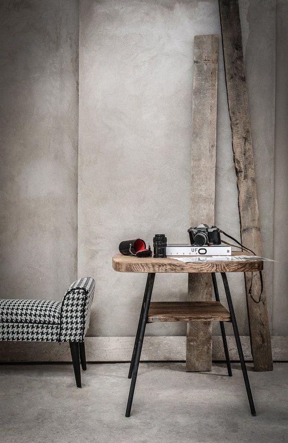 Oak Industrial coffee table with shelf by KORNIK on Etsy