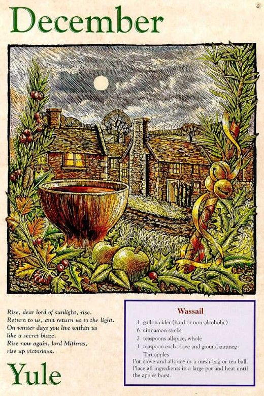 Yule and wassail recipe from an old Llewellyn calendar.
