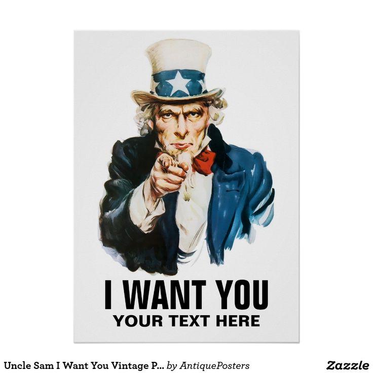 Uncle Sam I Want You Vintage poszter