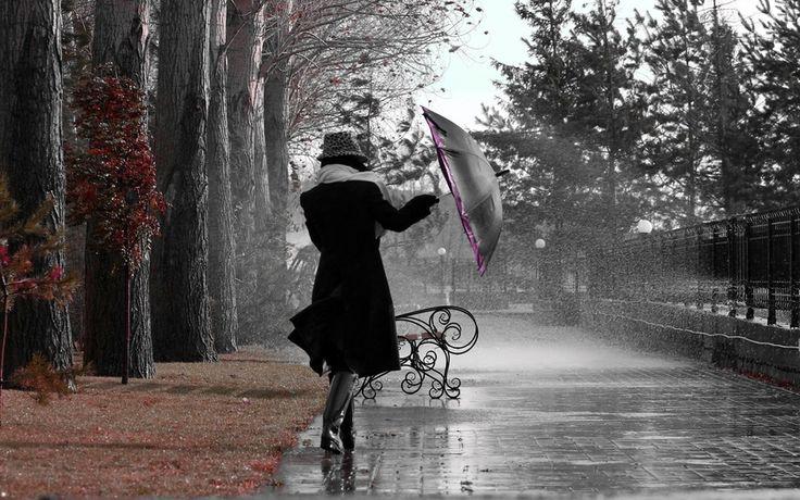 девушка, дождь,