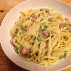 Ricetta Spaghetti panna, pancetta e piselli - pasta risottata pubblicata da Miss V - Questa ricetta è nella categoria Primi piatti
