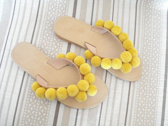 Yellow pom poms shoes Boho leather sandals Greek leather