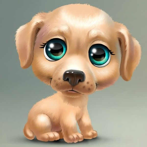 Caricatures of puppies