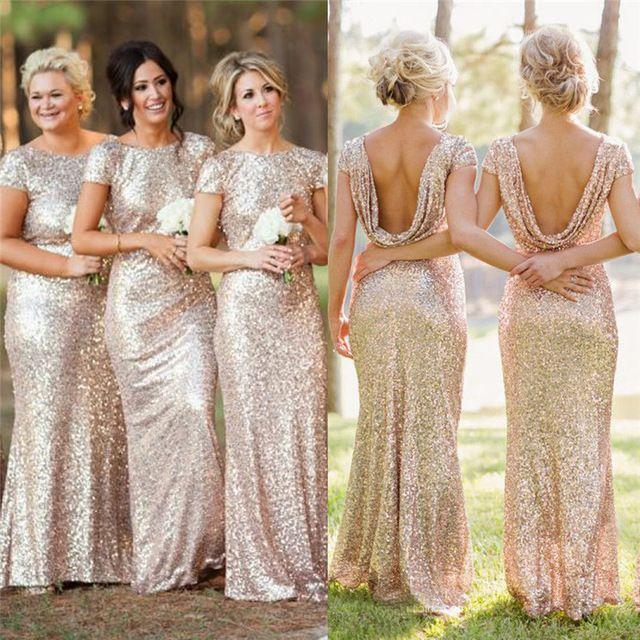 Champán del oro largo de dama de honor vestidos lentejuelas manga corta palabra de longitud vestido de dama de 2015 vestidos fiesta QBL15